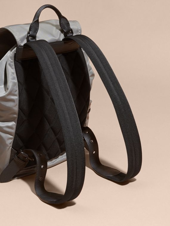 The Large Rucksack in Technical Nylon and Leather Thistle Grey - cell image 3