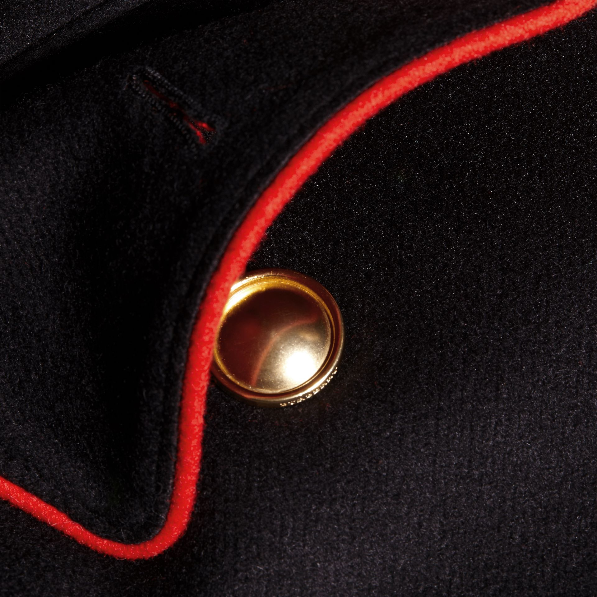 Black Military Detail Wool Cashmere Cape Coat - gallery image 2