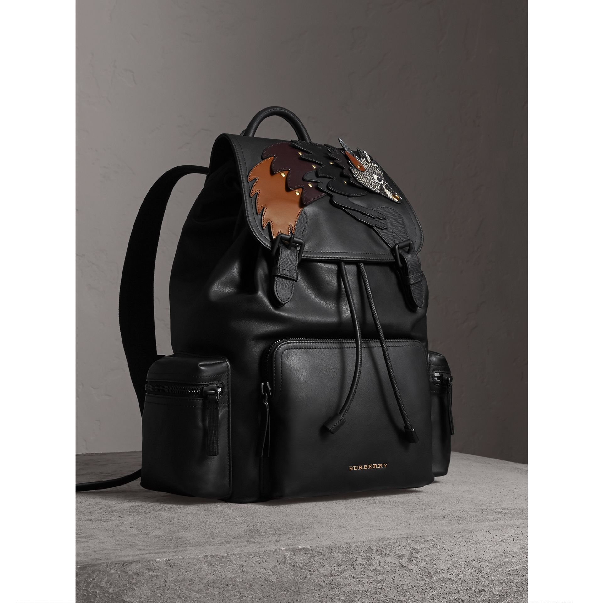 The Large Rucksack in Leather with Beasts Motif - Men | Burberry - gallery image 6