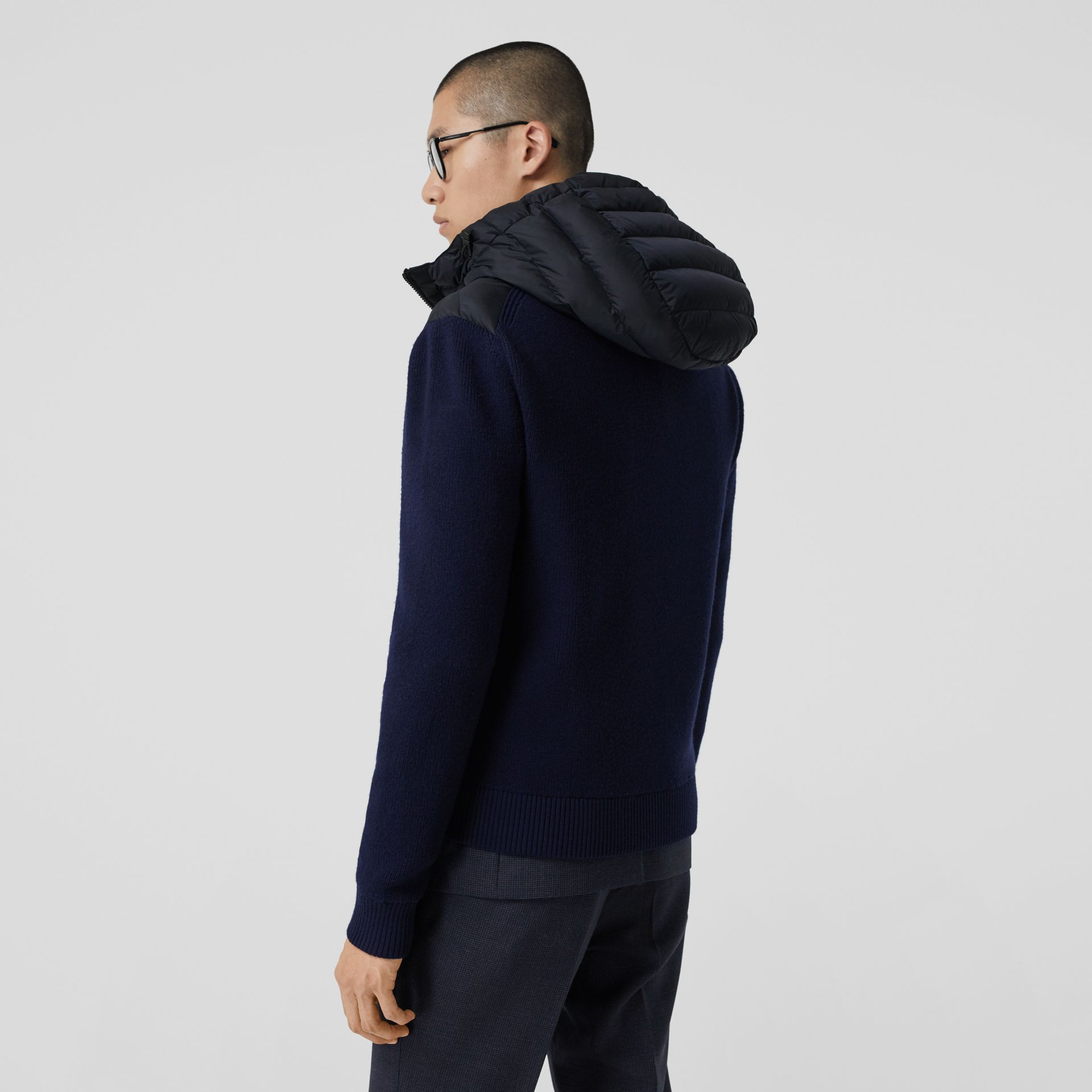Puffer Detail Technical Knit Hooded Jacket in Navy - Men | Burberry - gallery image 2