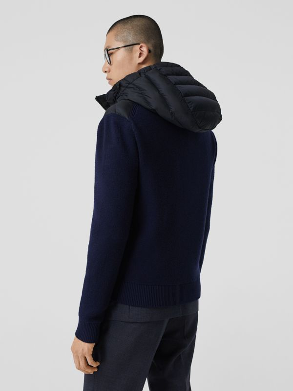 Puffer Detail Technical Knit Hooded Jacket in Navy - Men | Burberry - cell image 2