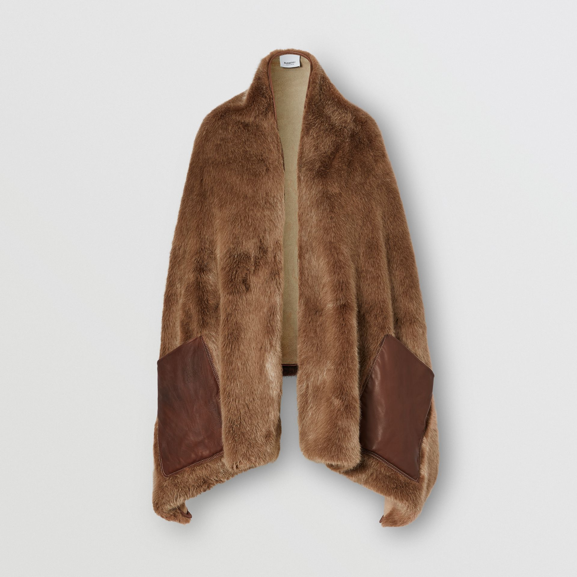 Faux Fur and Cashmere Stole in Camel - Women | Burberry - gallery image 3