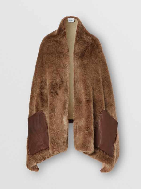 Faux Fur and Cashmere Stole in Camel - Women | Burberry - cell image 3