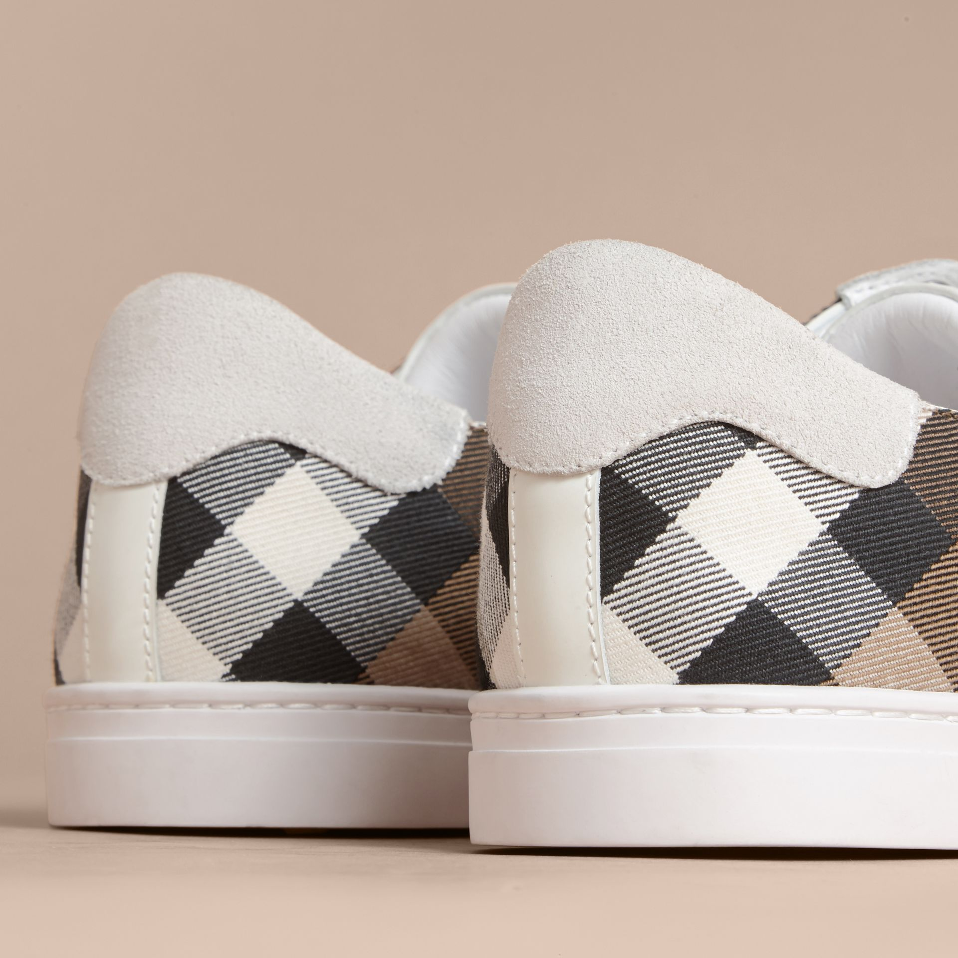 Leather and House Check Trainers in Optic White - Men | Burberry Australia - gallery image 4