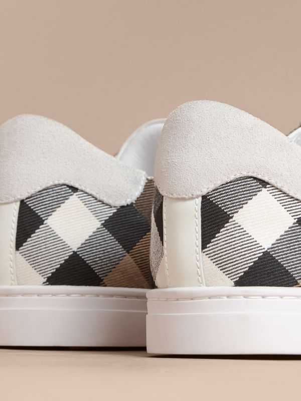 Leather and House Check Sneakers in Optic White - Men | Burberry - cell image 3