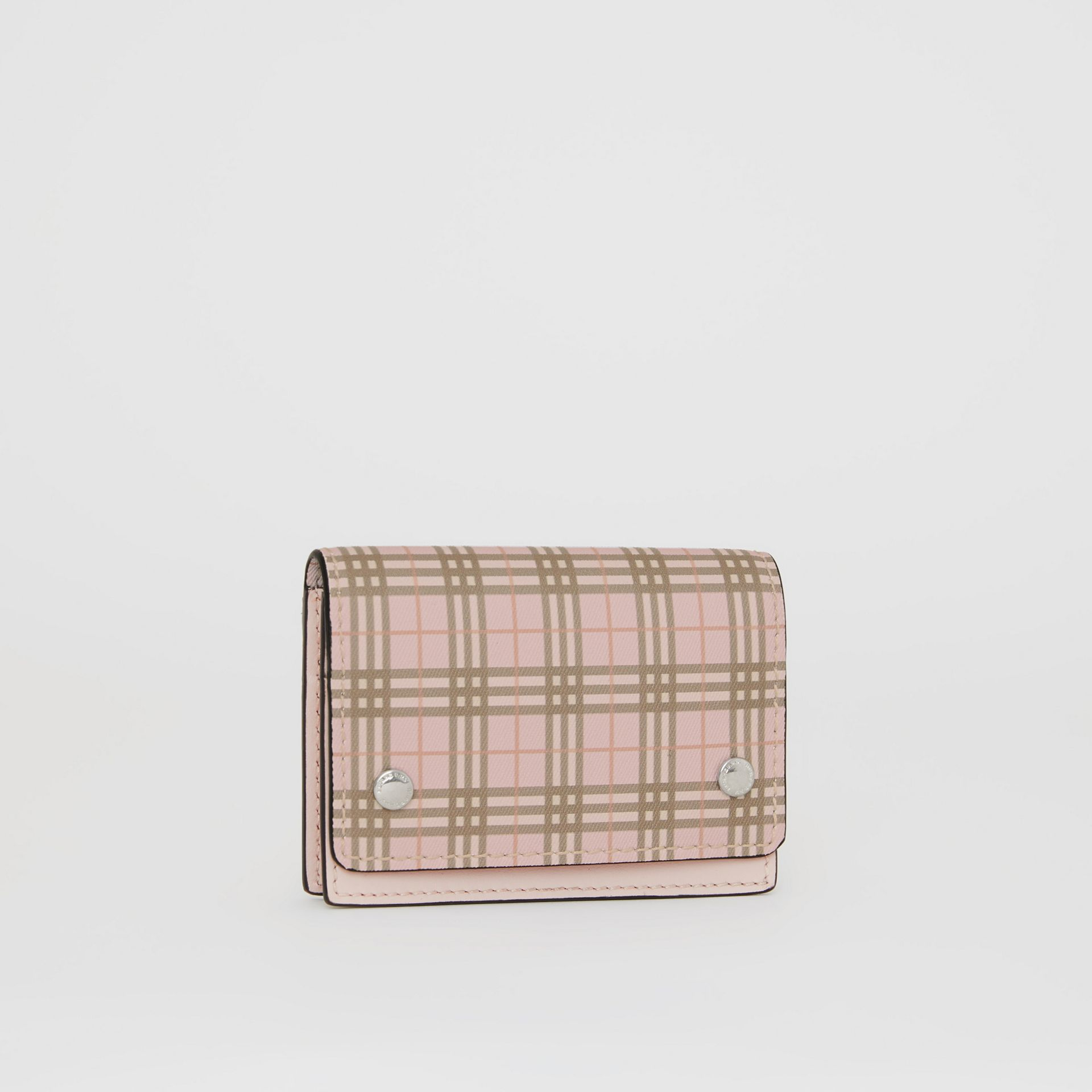 Small Scale Check and Leather Folding Card Case in Ice Pink - Women | Burberry - gallery image 4