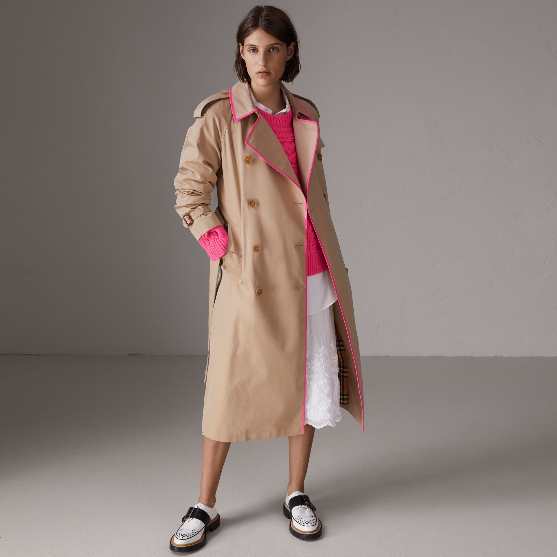 Tape Detail Cotton Gabardine Trench Coat in Honey - Women | Burberry United Kingdom - gallery image 0