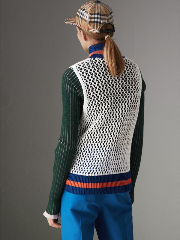 Sleeveless Mesh Knit Turtleneck Top in White - Women | Burberry - cell image 2