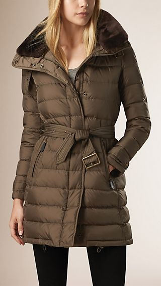 Down-Filled Coat with Shearling Collar