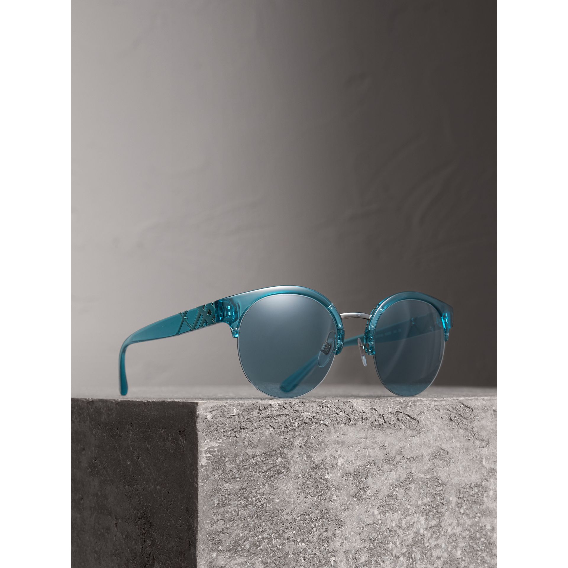 Check Detail Round Half-frame Sunglasses in Blue - Women | Burberry - gallery image 1