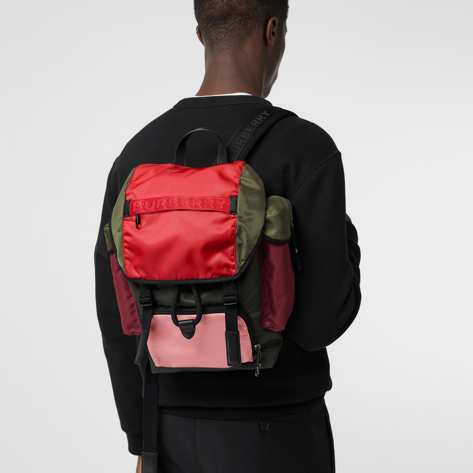 Medium Leather Trim Colour Block Nylon Backpack in Multicolour | Burberry - gallery image 7