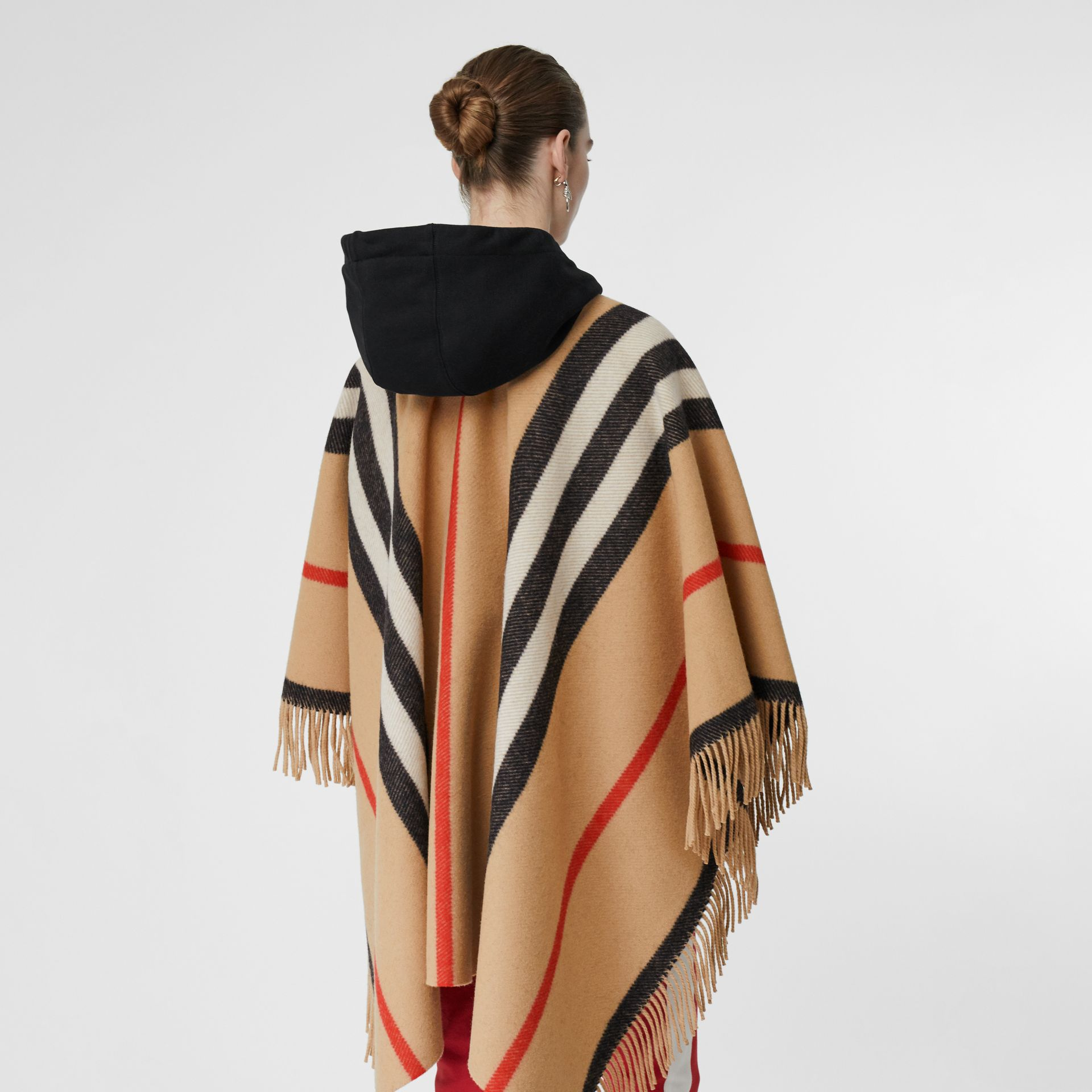Striped Wool Cape in Camel - Women | Burberry - gallery image 5