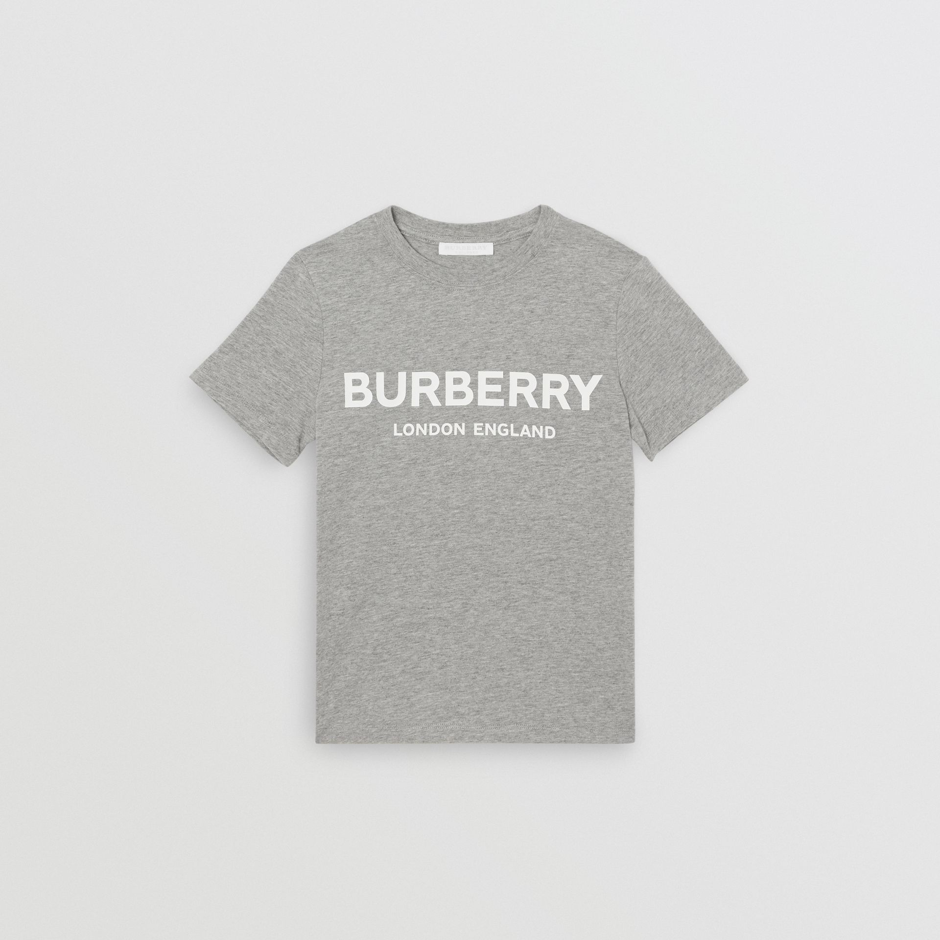 Logo Print Cotton T-shirt in Grey Melange | Burberry Australia - gallery image 0