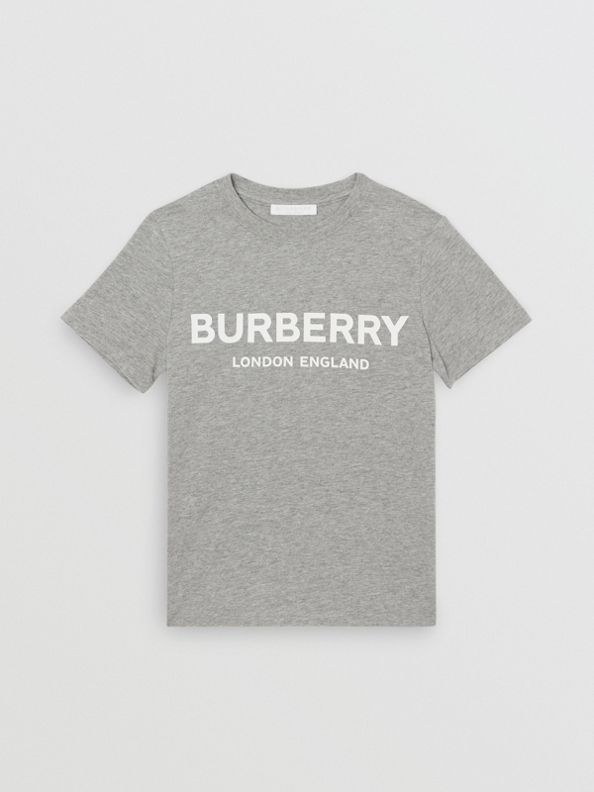Logo Print Cotton T-shirt in Grey Melange