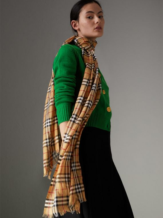 Vintage Check Lightweight Wool Silk Scarf in Antique Yellow | Burberry United States - cell image 3