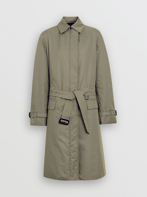 Puppytooth Check Belted Car Coat in Chalk Yellow - Women | Burberry - cell image 3