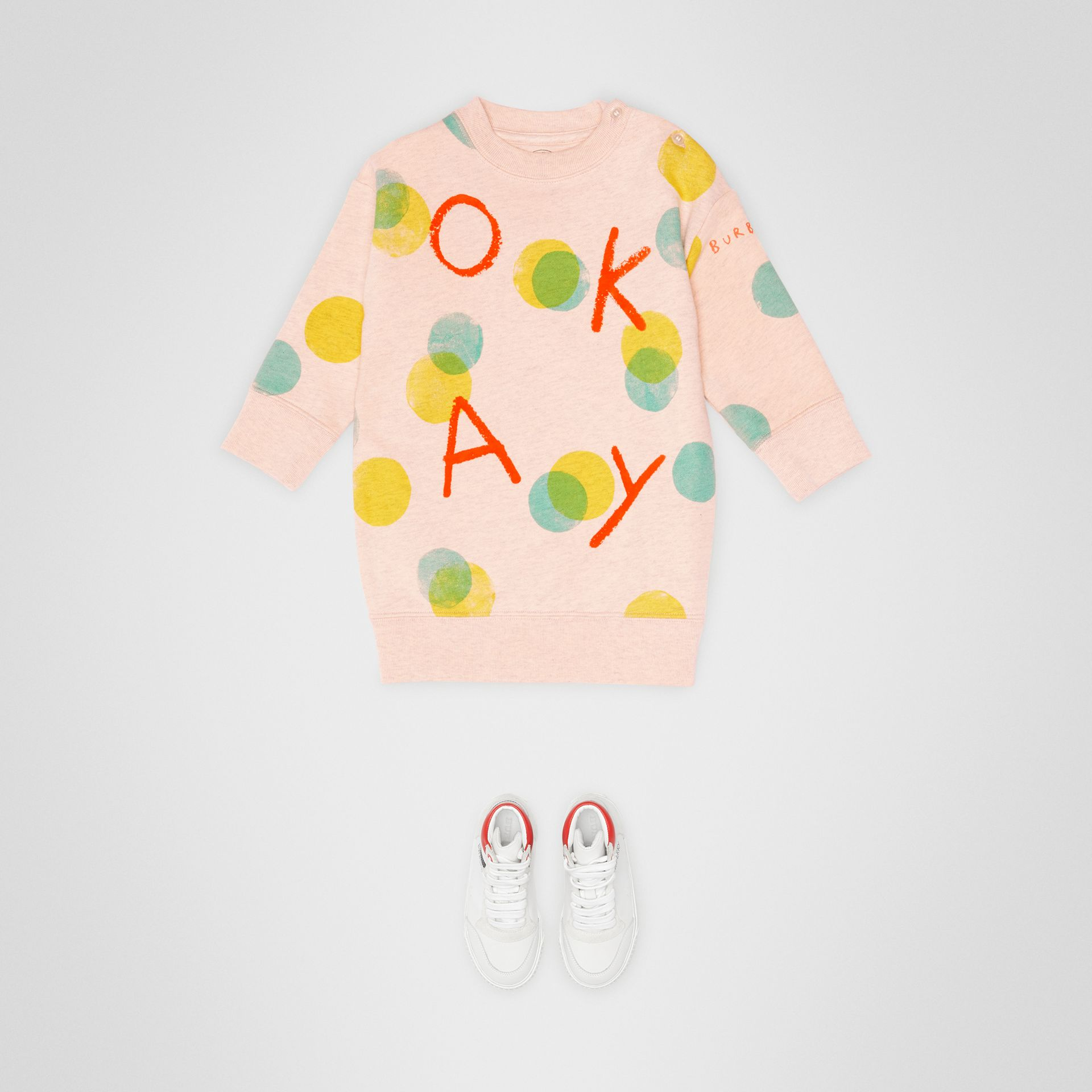 Oversized Spot Print Cotton Sweater Dress in Oyster Pink Melange - Children | Burberry - gallery image 2