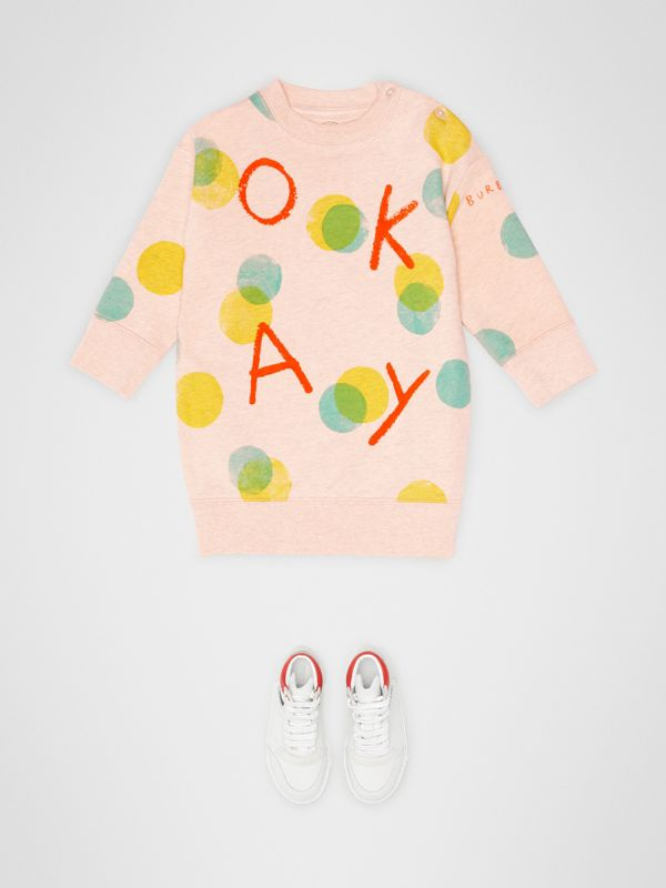 Oversized Spot Print Cotton Sweater Dress in Oyster Pink Melange - Children | Burberry - cell image 2