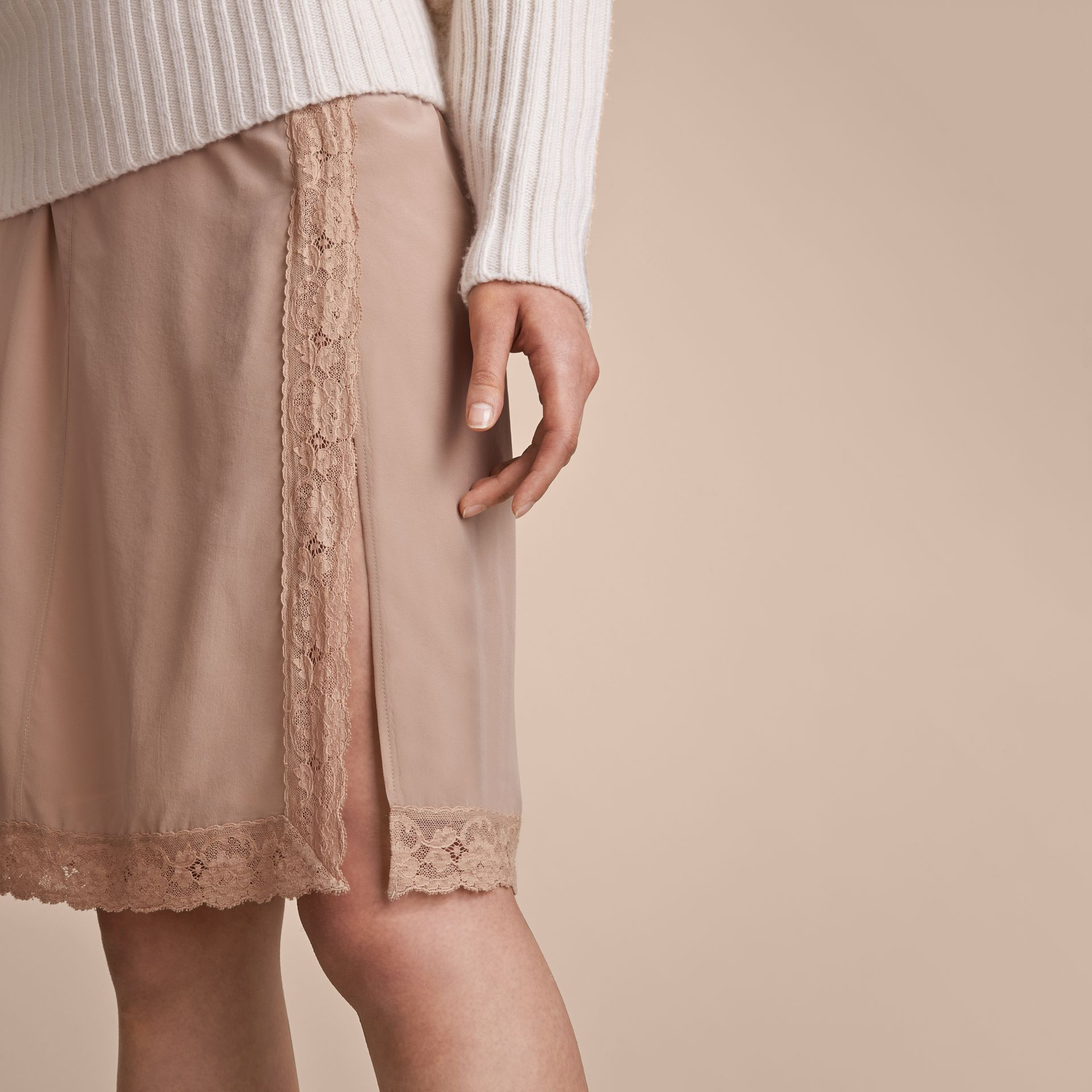 Lace Trim Silk Skirt - gallery image 5