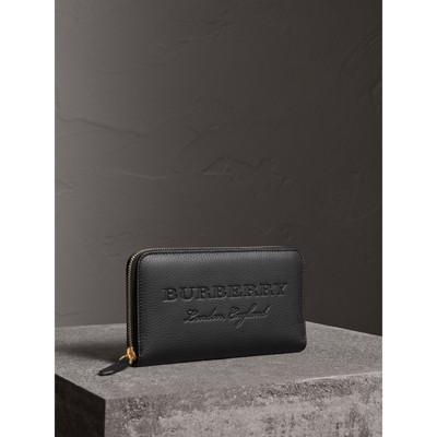 Embossed Leather Ziparound Wallet in Black