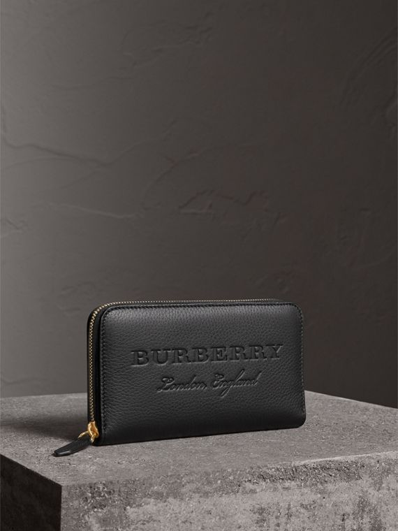 Embossed Leather Ziparound Wallet in Black