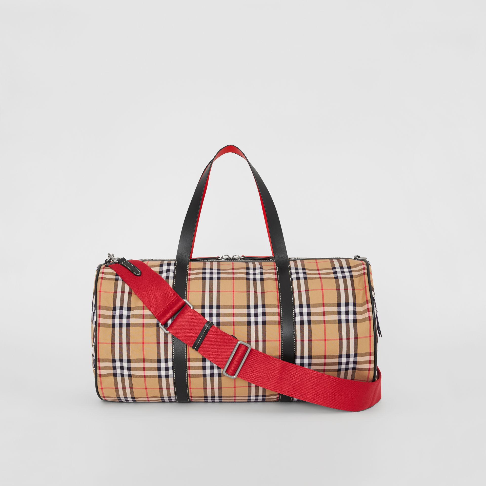 Large Vintage Check and Leather Barrel Bag in Military Red - Men | Burberry - gallery image 9