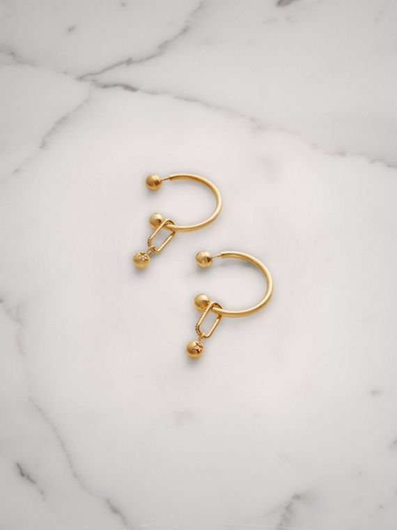 Crystal Charm Gold-plated Hoop Earrings in Light Gold/crystal
