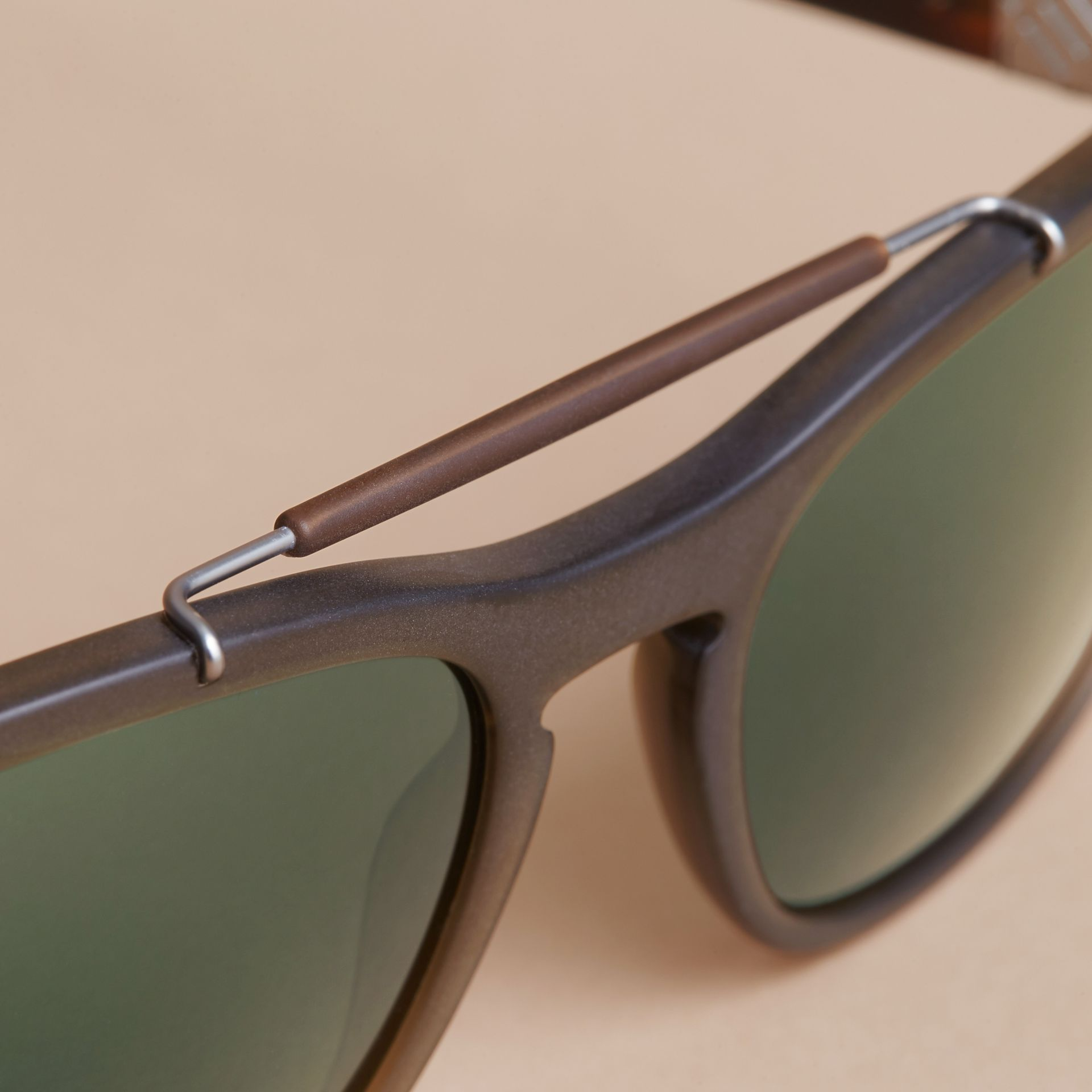 Top Bar Square Frame Sunglasses in Olive - Men | Burberry United States - gallery image 1