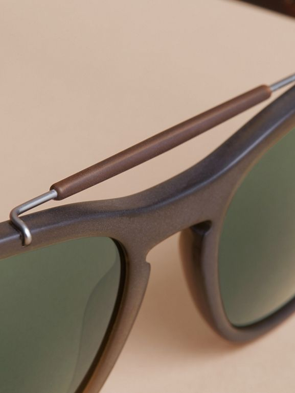 Top Bar Square Frame Sunglasses in Olive | Burberry Canada - cell image 1