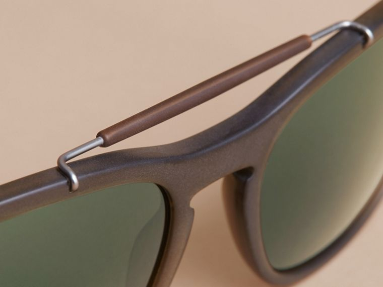 Top Bar Square Frame Sunglasses in Olive - Men | Burberry United States - cell image 1