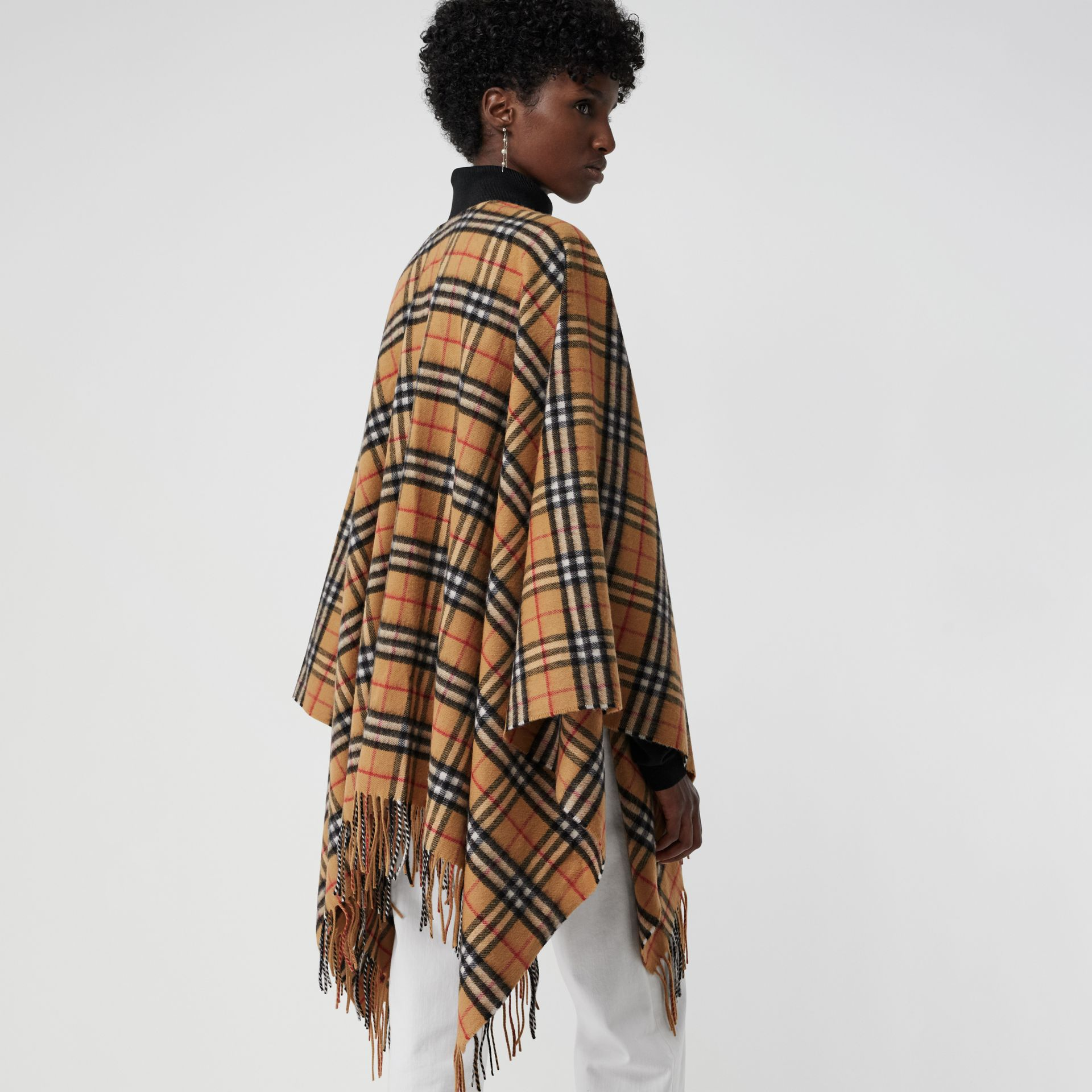 Vintage Check Cashmere Wool Poncho in Antique Yellow - Women | Burberry - gallery image 2