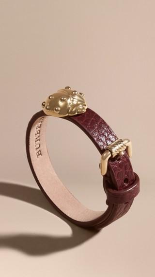Bracelet manchette en cuir à motif coccinelle