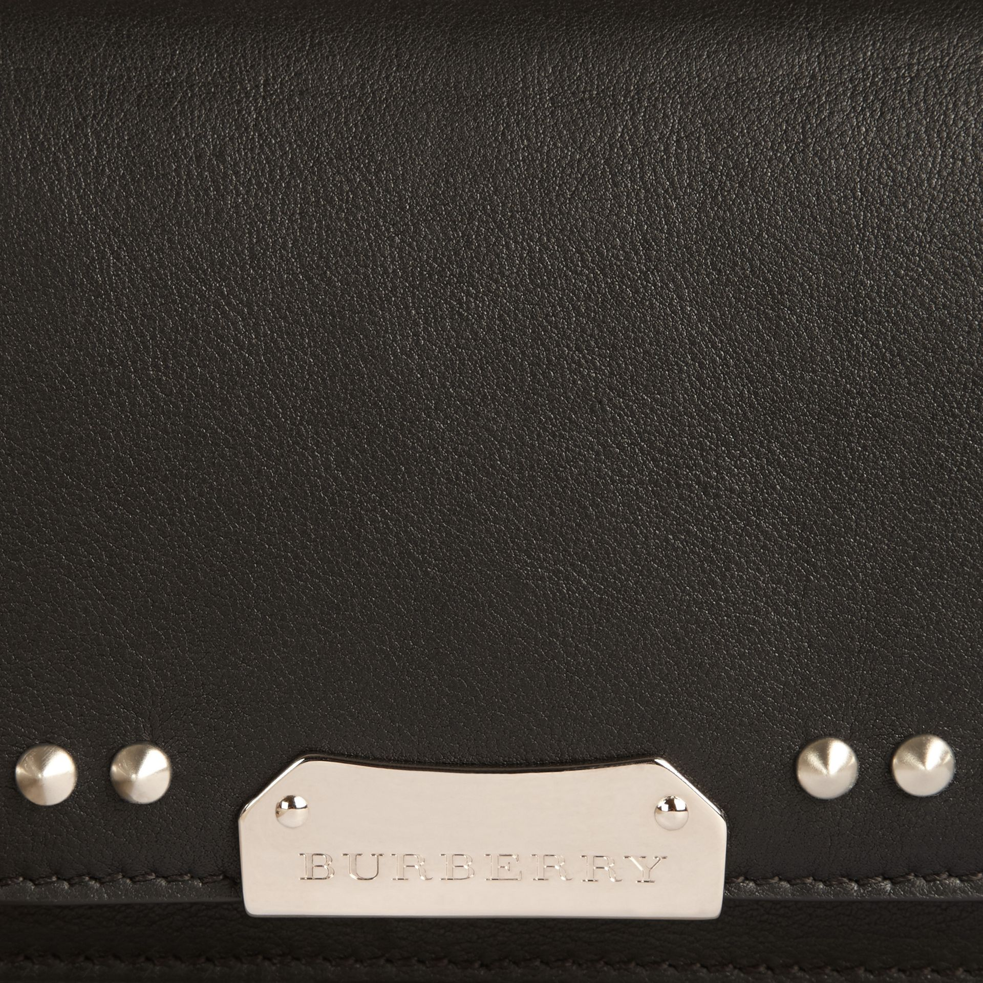 Black Studded Leather Clutch Bag with Chain - gallery image 2