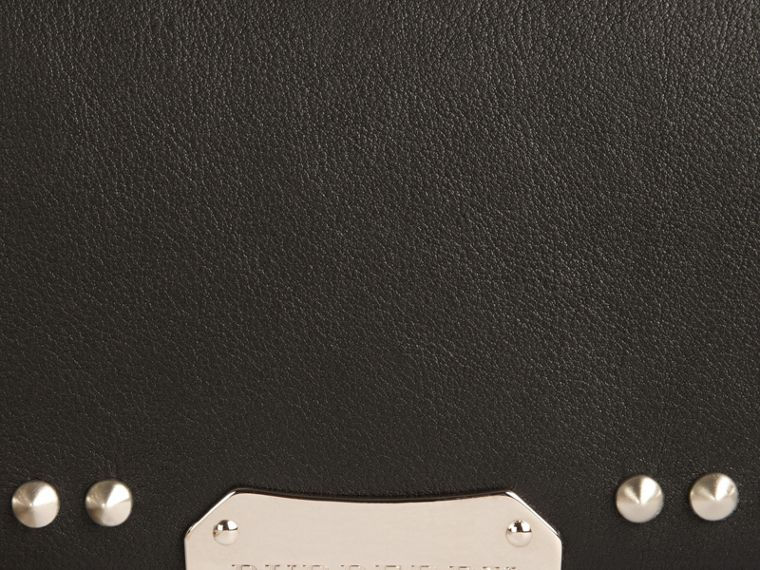 Black Studded Leather Clutch Bag with Chain - cell image 1