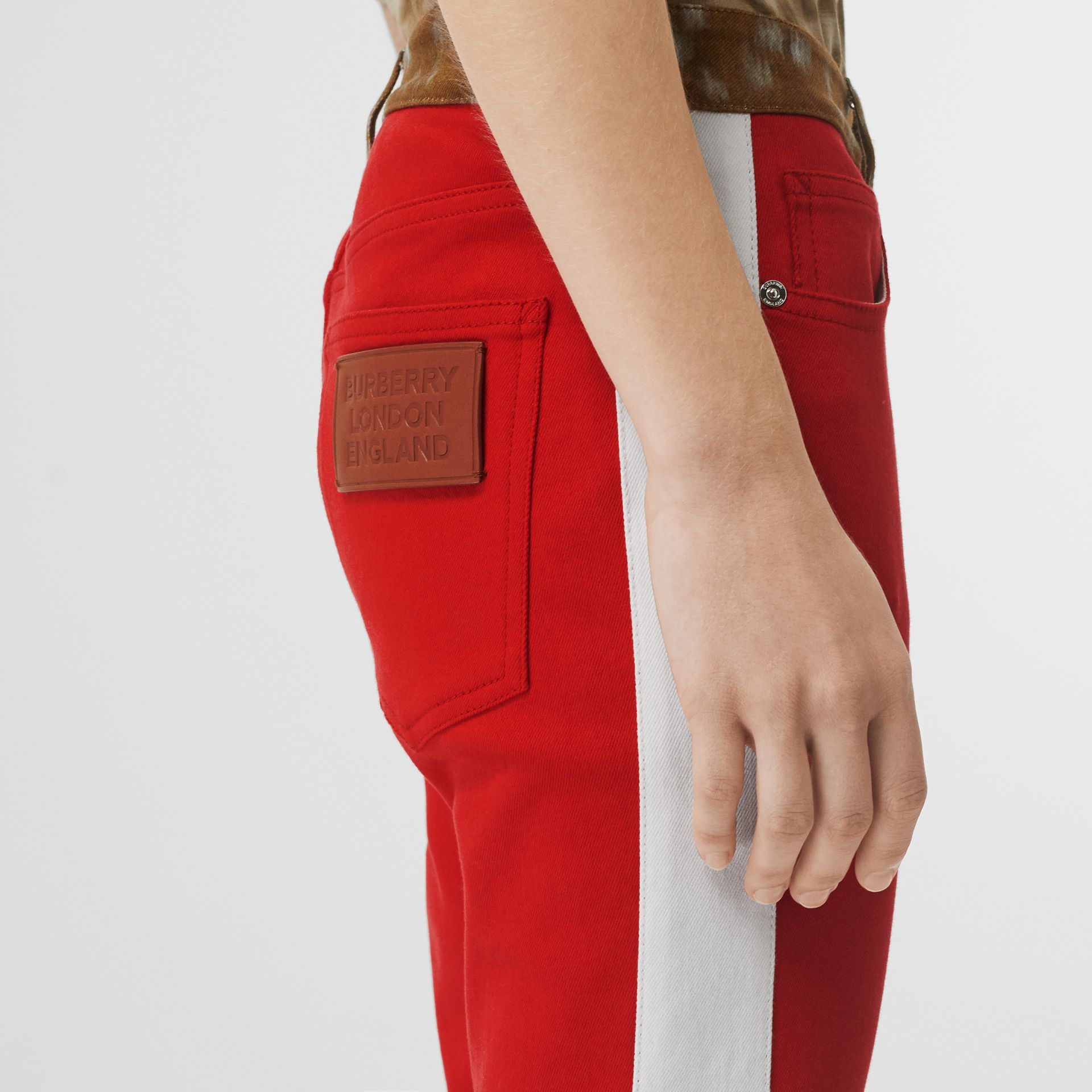 Straight Fit Deer Print Trim Japanese Denim Jeans in Bright Red - Women | Burberry - gallery image 5