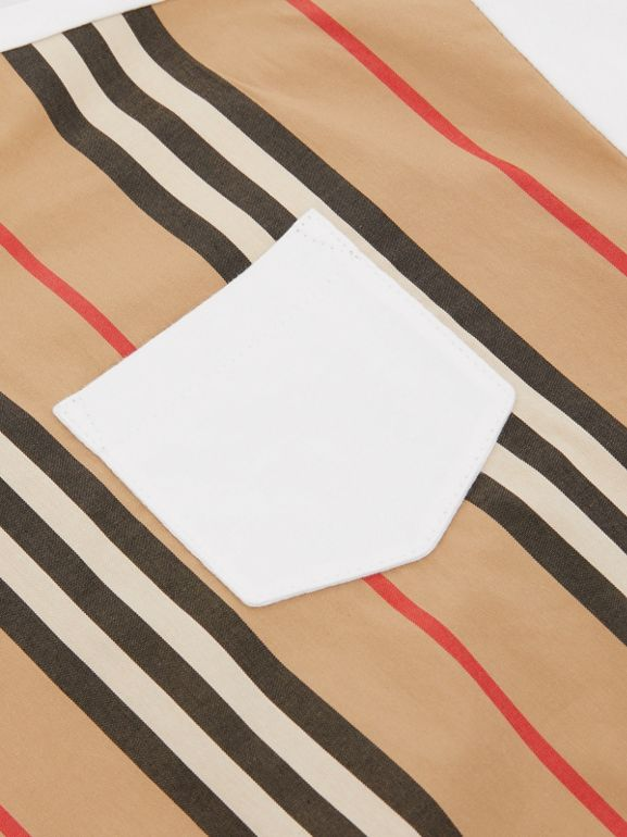 Icon Stripe Panel Cotton T-shirt in White - Children | Burberry United Kingdom - cell image 1