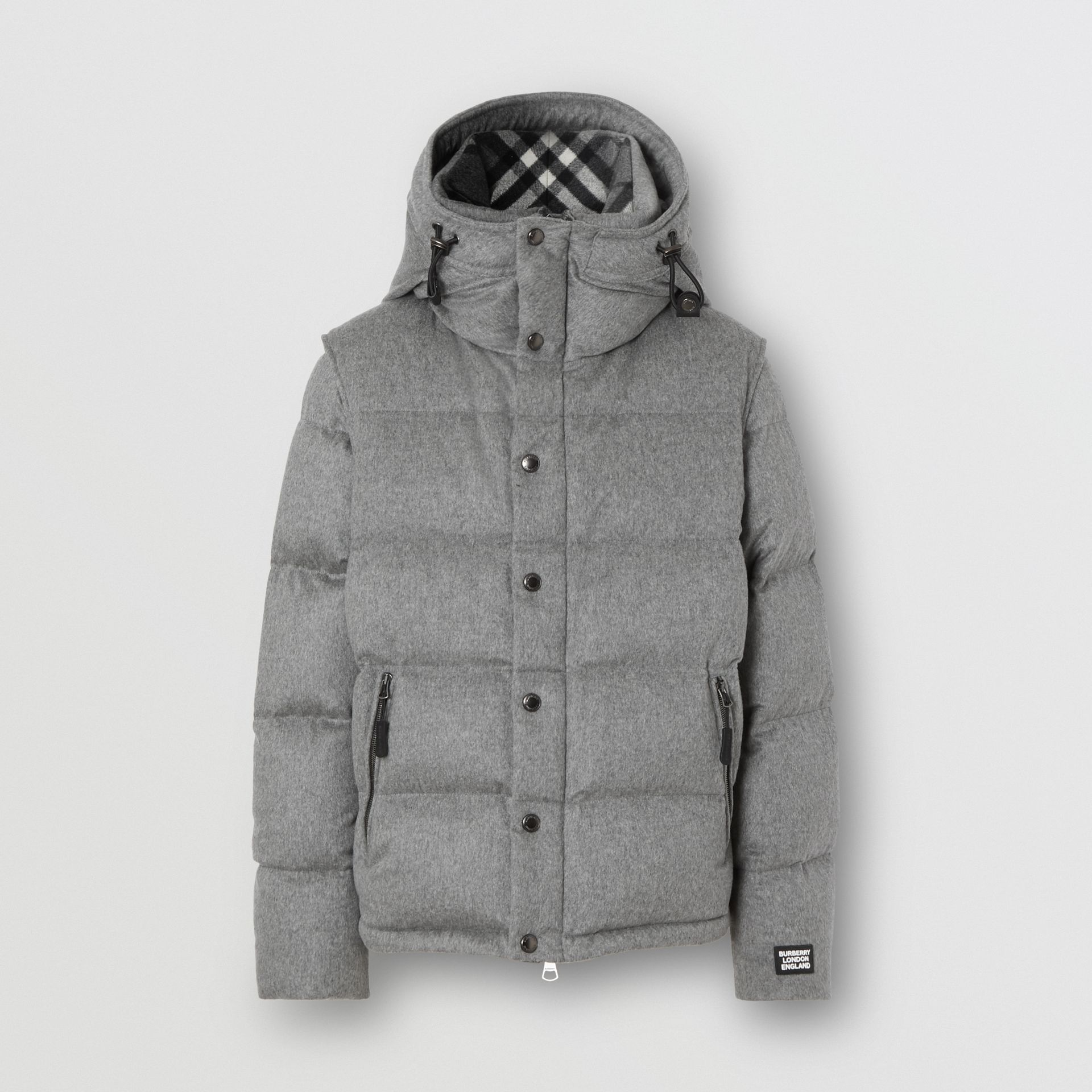 Detachable Sleeve Cashmere Hooded Puffer Jacket in Mid Grey Melange - Men | Burberry - gallery image 3