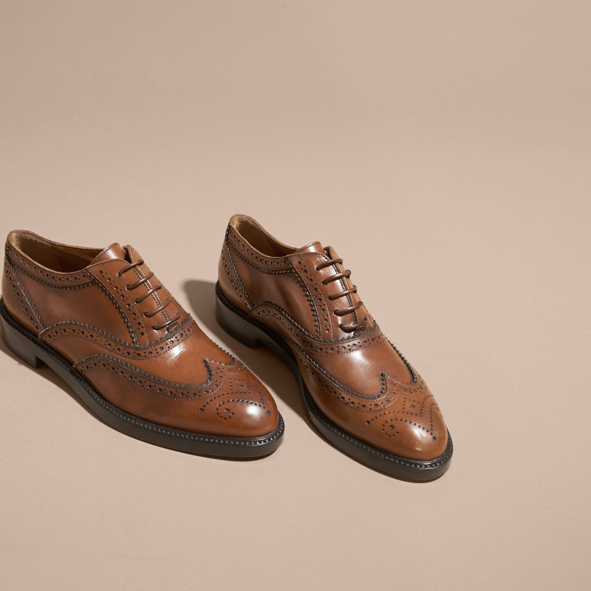 Leather Wingtip Brogues in Bright Camel - Women | Burberry Singapore - gallery image 3