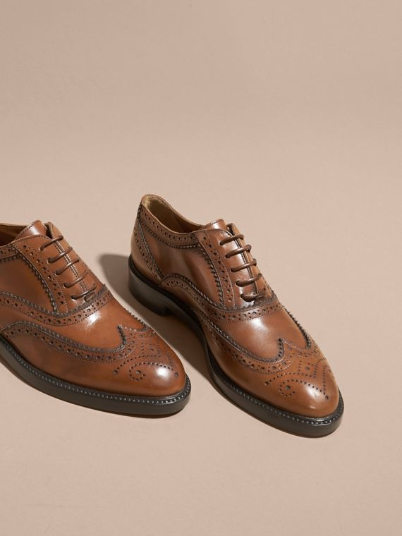 Leather Wingtip Brogues in Bright Camel - Women | Burberry - cell image 2