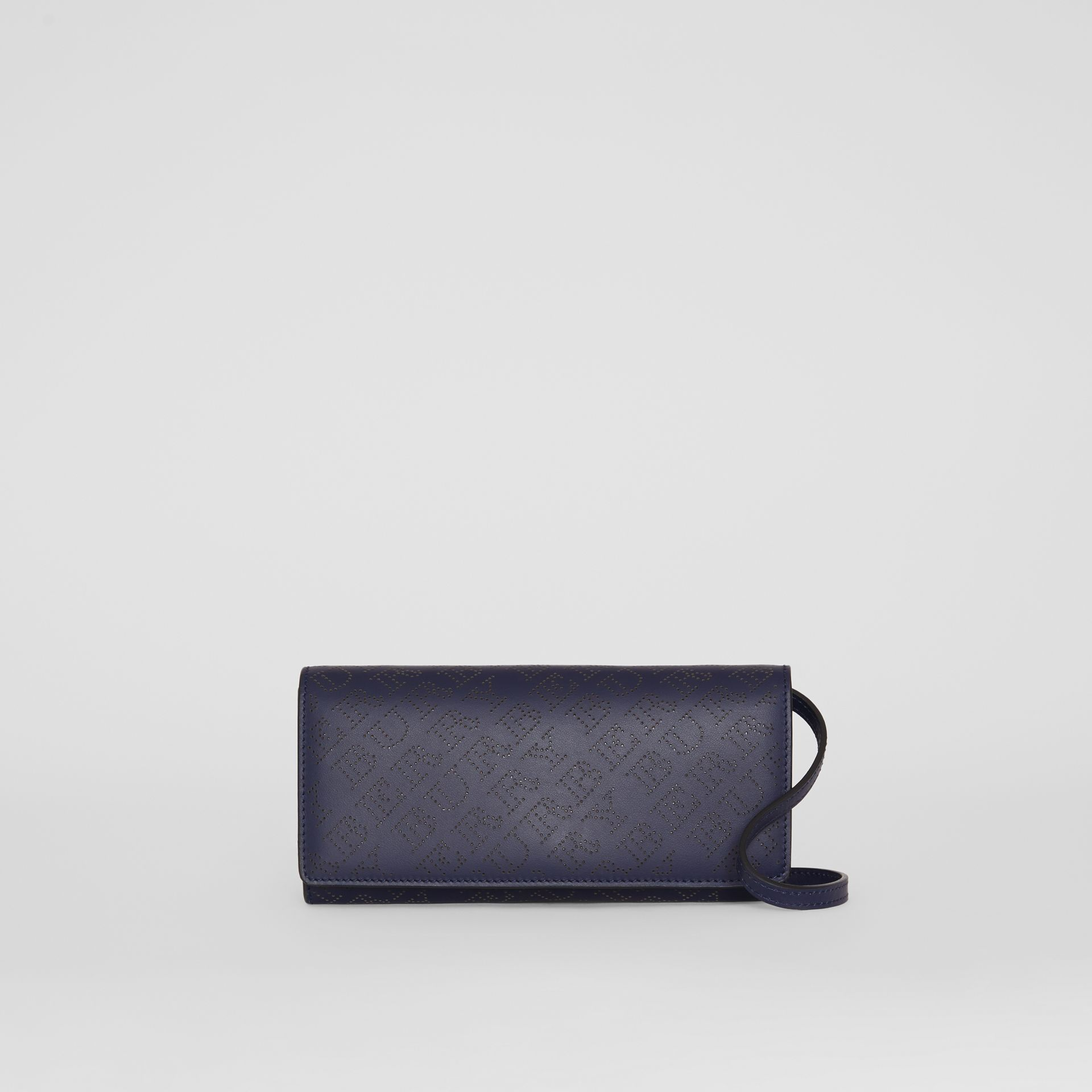 Perforated Logo Leather Wallet with Detachable Strap in Navy - Women | Burberry United Kingdom - gallery image 0