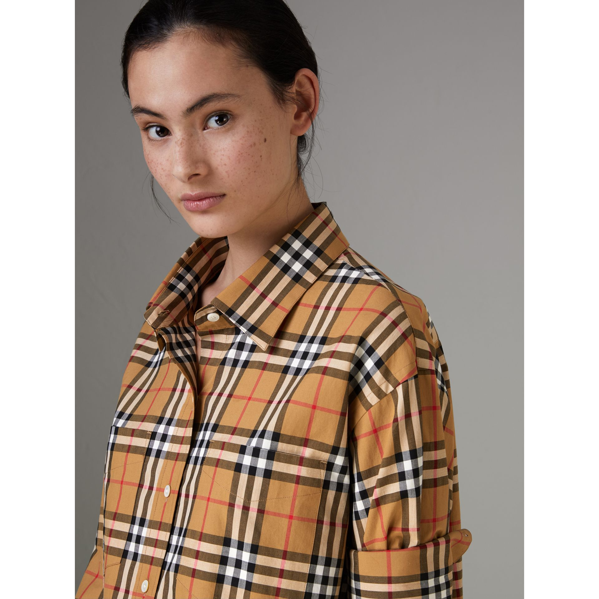 Vintage Check Cotton Shirt in Antique Yellow - Women | Burberry United Kingdom - gallery image 1