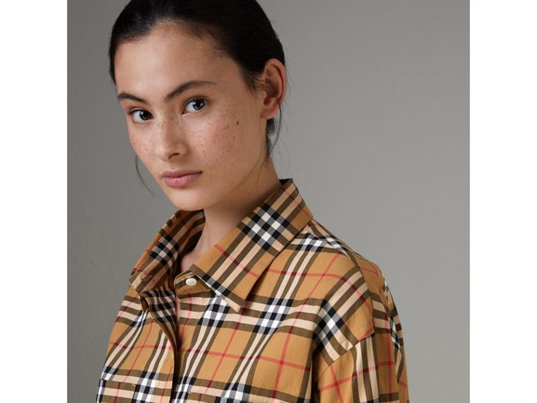 Vintage Check Cotton Shirt in Antique Yellow - Women | Burberry - cell image 1