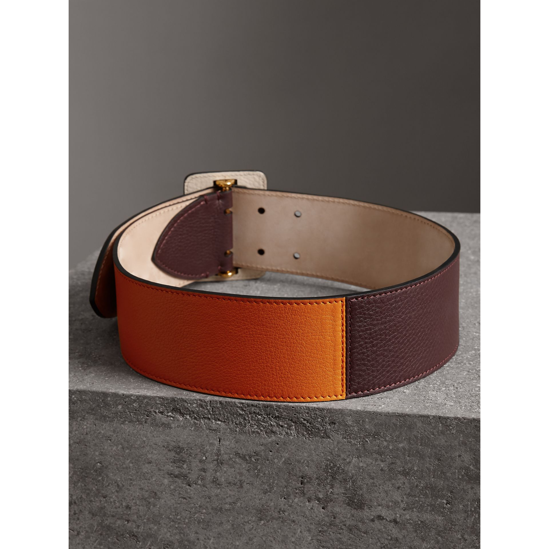 Colour Block Grainy Leather Belt in Deep Claret/clementine - Women | Burberry - gallery image 3