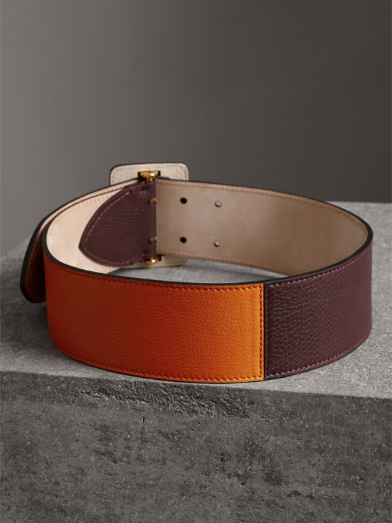 Colour Block Grainy Leather Belt in Deep Claret/clementine - Women | Burberry United Kingdom - cell image 3