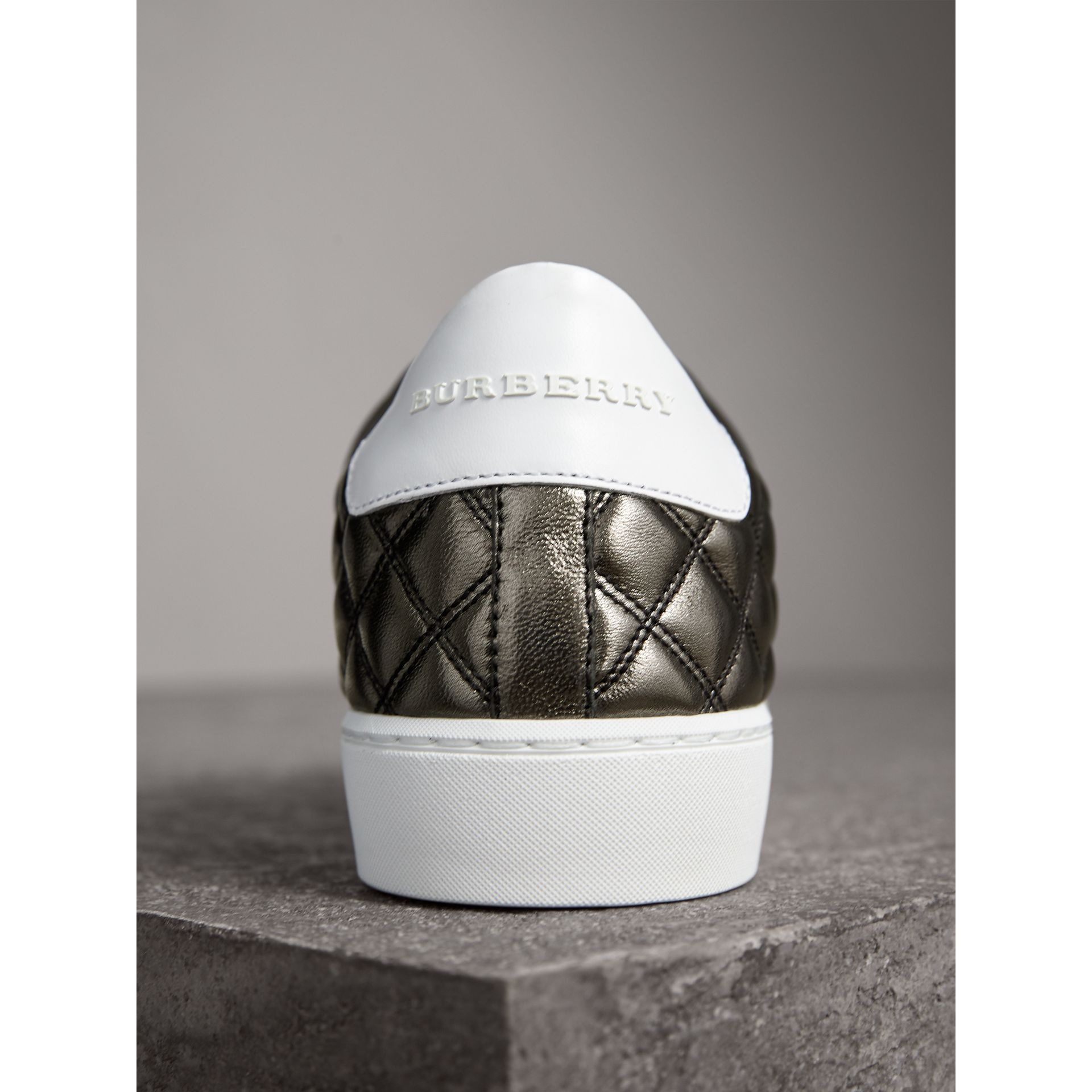 Metallic Check-quilted Leather Trainers in Dark Nickel - Women | Burberry - gallery image 2