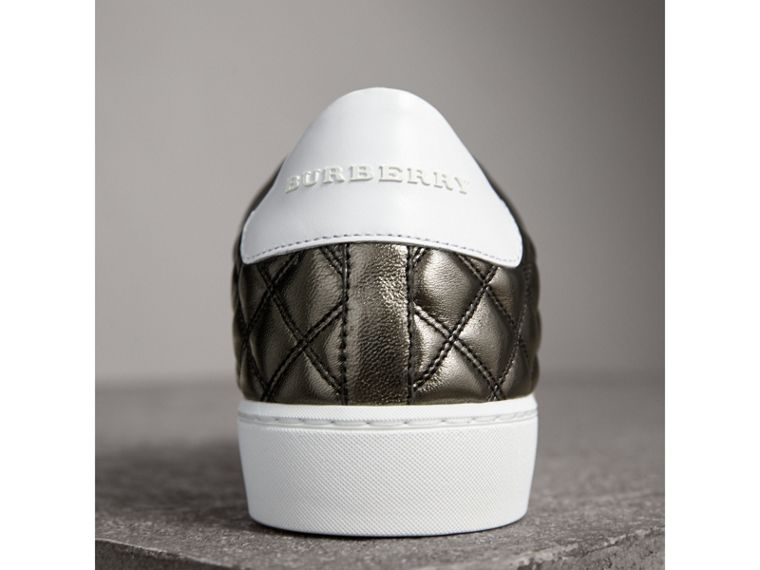 Metallic Check-quilted Leather Trainers in Dark Nickel - Women | Burberry - cell image 1