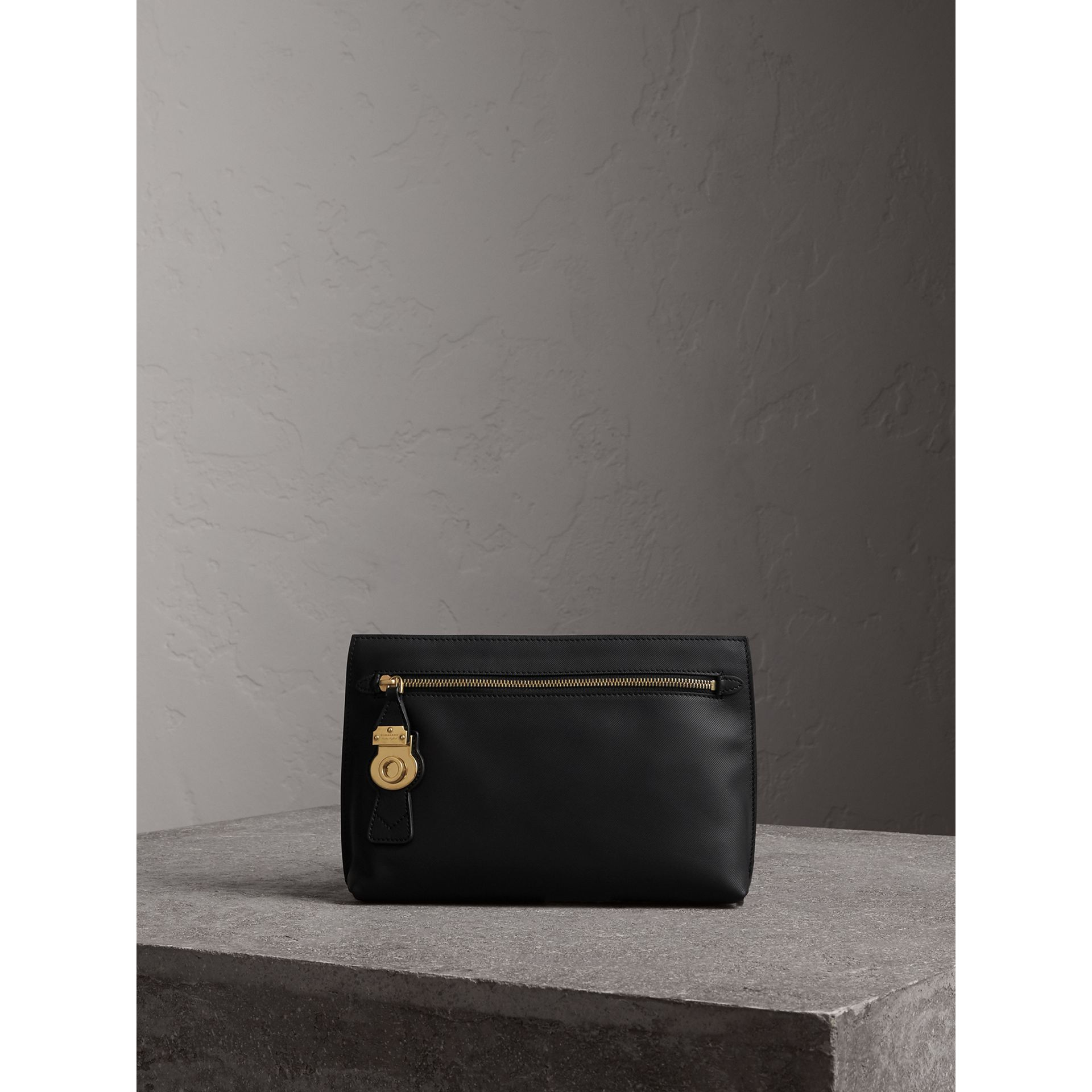 Trench Leather Wristlet Pouch in Black - Women | Burberry - gallery image 1