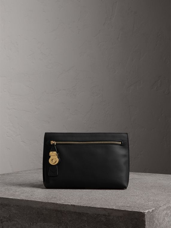 Trench Leather Wristlet Pouch in Black