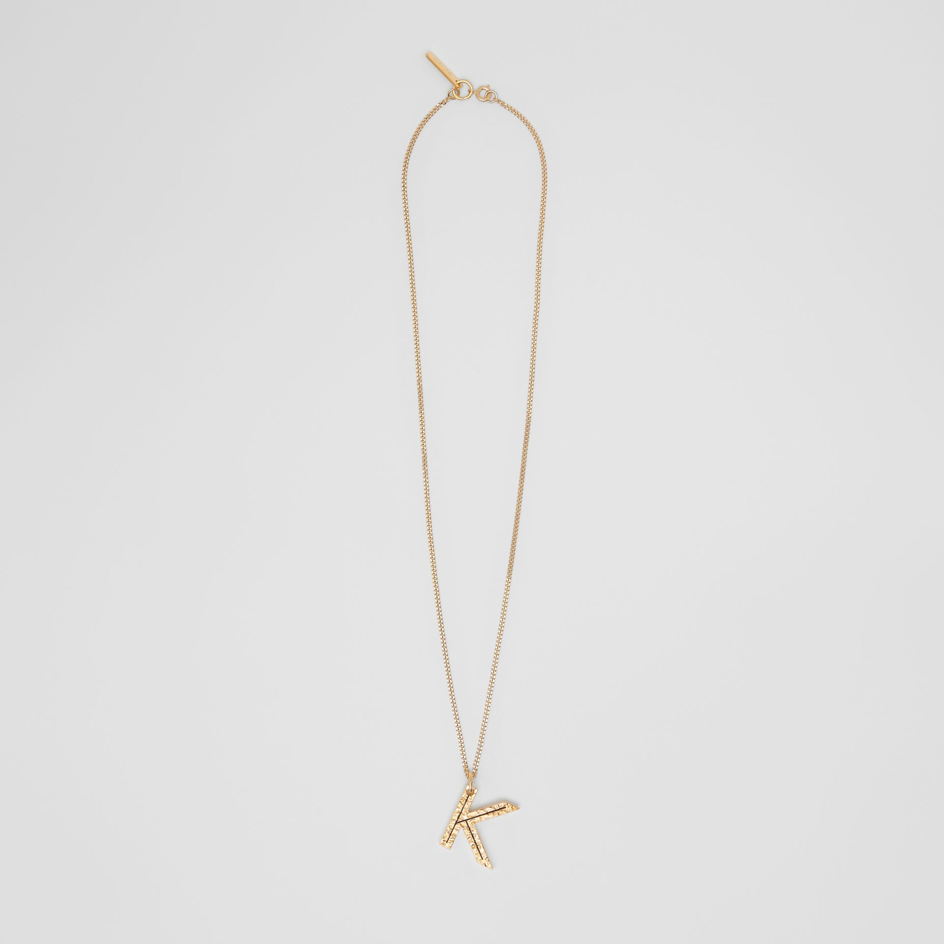 'K' Alphabet Charm Gold-plated Necklace in Light - Women | Burberry United Kingdom - gallery image 0