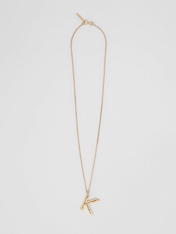 'K' Alphabet Charm Gold-plated Necklace in Light